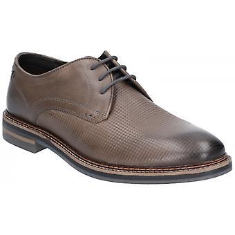 Baza Londra Blake Burnish Print Mens piele Derby Pantofi Gri