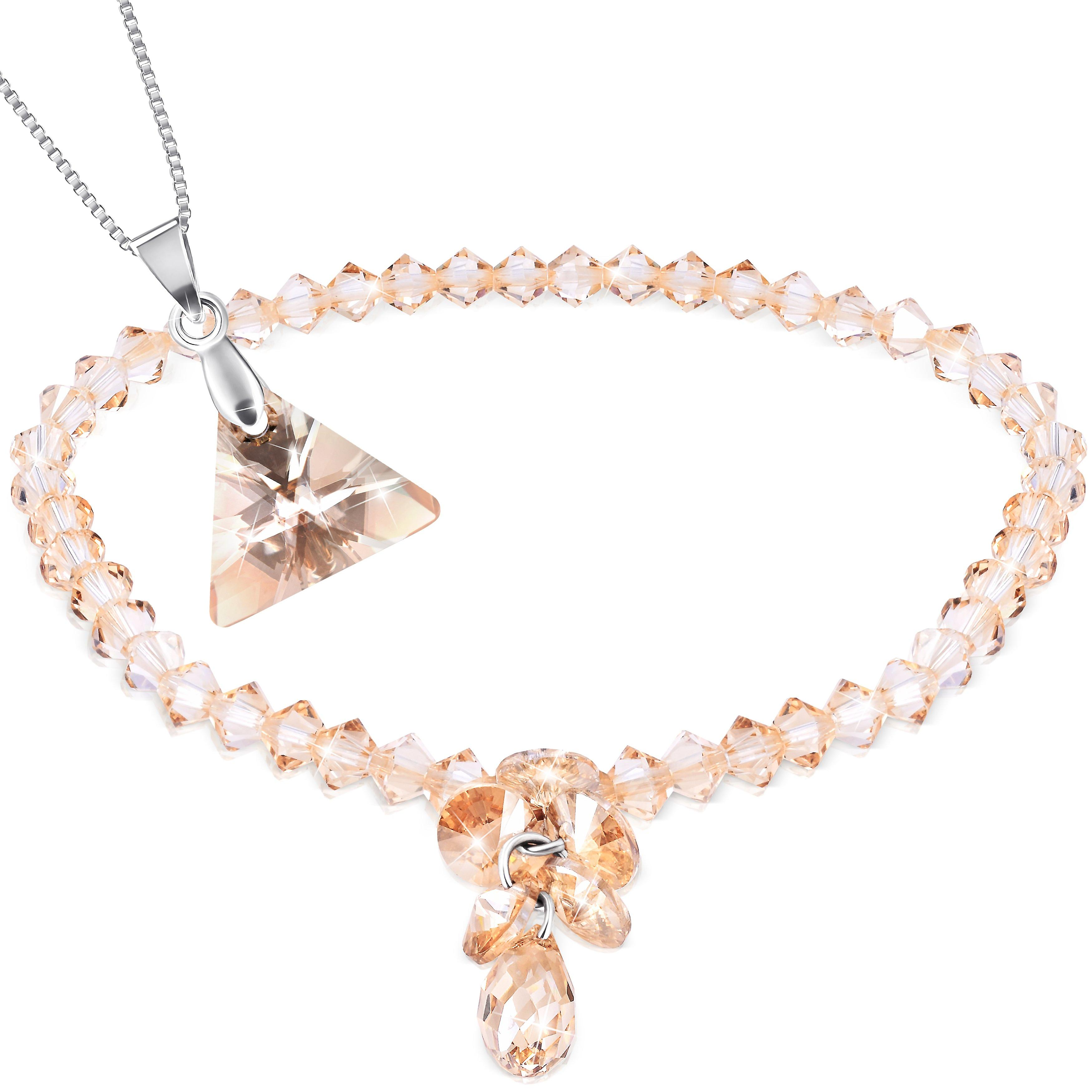 Necklace and bracelet with swarovski crystal. rhodium plated. by 2splendid. 2 for 1. gift box included. bnqz029