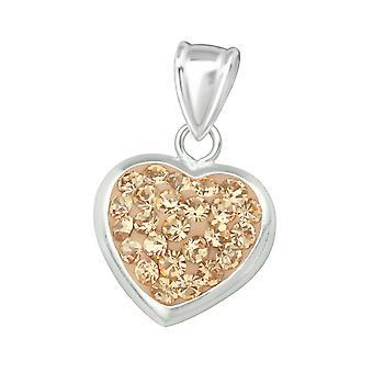 Heart - 925 Sterling Silver Jewelled Pendants - W16577x
