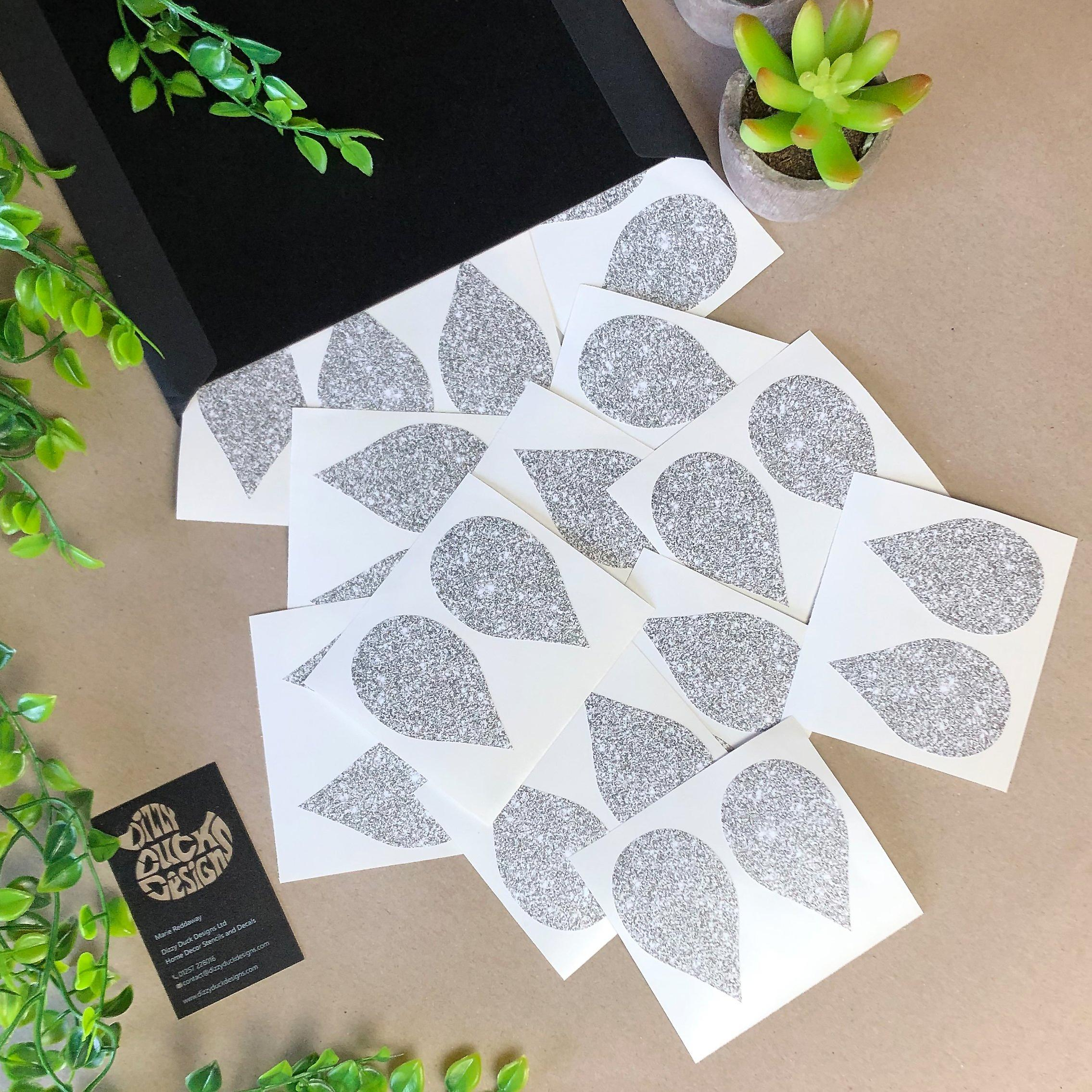 Silver glitter effect tear drop decals