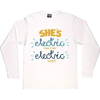 She's Electric White Long-Sleeved T-Shirt