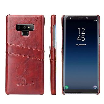 For Samsung Galaxy Note 9 Case Deluxe Wallet Leather Cover 2 Card Slots,Brown