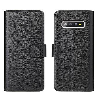 For Samsung Galaxy S10+ Wallet Case,iCoverLover Real Cow Leather Cover,Black