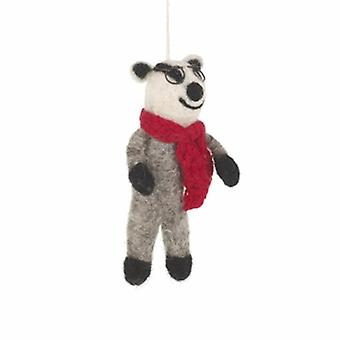 Felt Winter Badger Hanging Decoration| Gifts From Handpicked