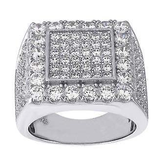 925 Sterling Silver Mens Round CZ Cubic Zirconia Simulated Diamond Cluster Band Fashion Ring Jewelry Gifts for Men - Rin