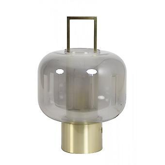 Light & Living Table Lamp 29.5x46cm Arturos Glass Smoke And Bronze