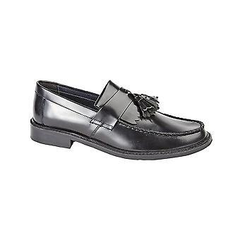 Roamers Black Hi-shine Leather Toggle Saddle Loafer Leather Lining & Sock Resin Sole