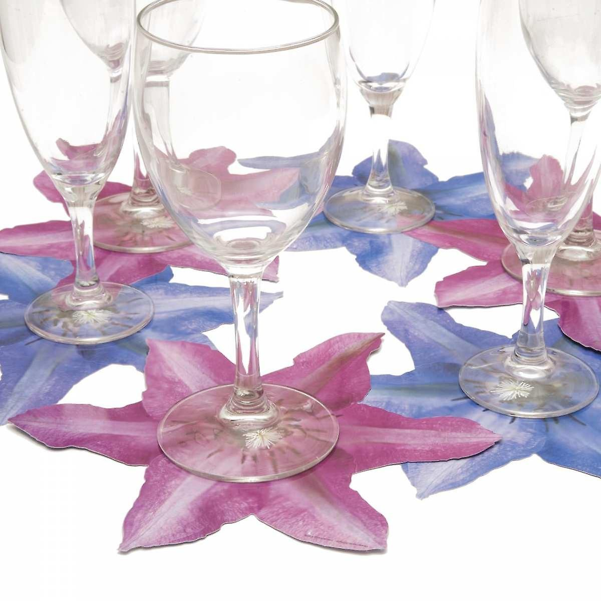 6 glass coasters motif flower Clematis blue