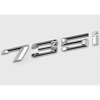 Silver Chrome BMW 735i Car Model Rear Boot Number Letter Sticker Decal Badge Emblem For 7 Series E38 E65 E66E67 E68 F01 F02 F03 F04 G11 G12