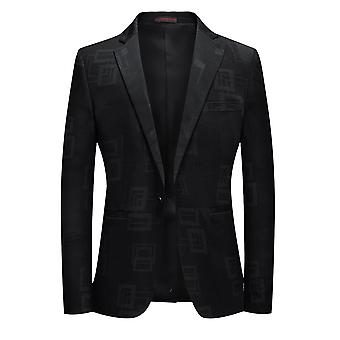 Allthemen Men's 1 Abotoado Estampado Sport Coat Casual Black Suit Jacket