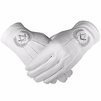 Masonic cotton gloves with machine embroidery square compass silver 2 x pair