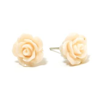 The Olivia Collection Smell The Roses Cream Rose Stud Earrings