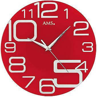 AMS 9462 Wall clock Quartz analog red round modern