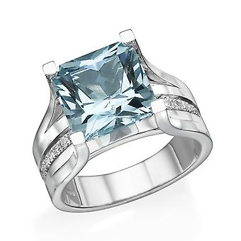 14K Weißgold 1.20 Ctw blauer Topas Ring mit Diamanten Brücke Kanal set Prinzessin