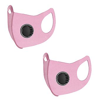 2 PCS Masks, unisex dustproof and anti-pollution with valve, reusable and washable summer ice silk fashion protection