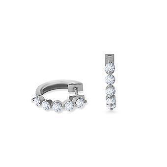 Earrings Hoops Full Diamonds and 18K Gold - White Gold