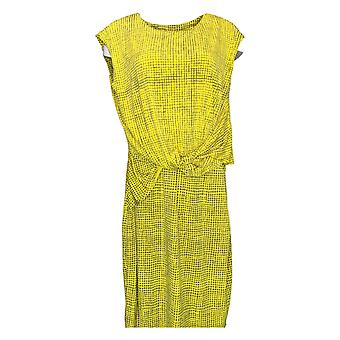 H by Halston Dress Printed Jet Set Jersey Cap Sleeve Yellow A287142