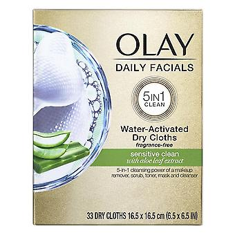 Olay daily gentle clean 4-in-1 water activated cleansing cloths, 33 ea