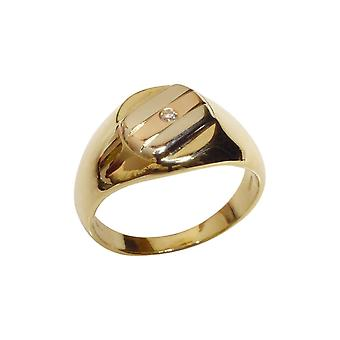 Gold tricolor cachet ring with diamond