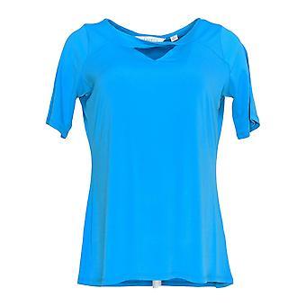 Allison Taylor Women's Top Short Sleeve Liquid Knit w/ Cut Out Detail Blue