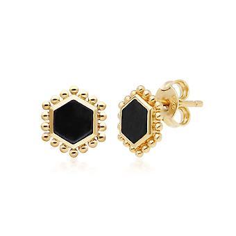أسود أونكس شقة شريحة الأقراط الأزرار مسمار في الذهب مطلي الفضة الاسترليني 271E020702925