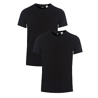 Men's Levis Slim 2 Pack Crew T-Shirts in nero