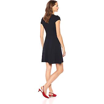 Lark & Ro Women's Cap Sleeve Faux Wrap Fit and Flare Dress,, Navy, Size Medium