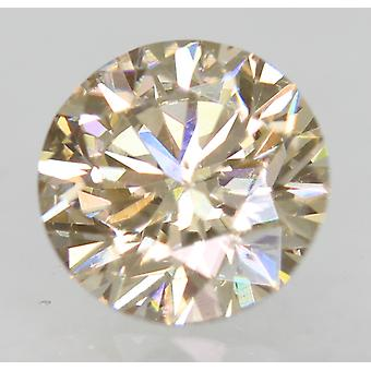 Cert 0.70 Carat Light Brown VVS2 Round Brilliant Natural Loose Diamond 5.57mm
