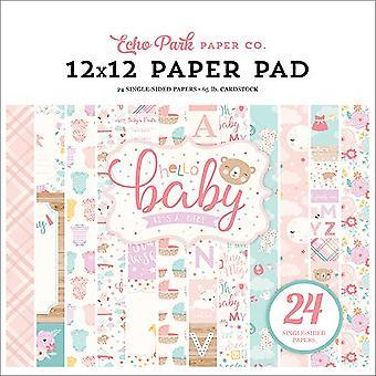 Echo Park Hello Baby Girl 12x12 Inch Paper Pad