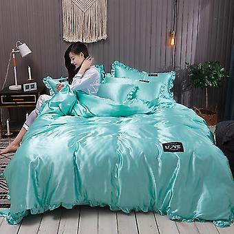 Luxury Pure Satin Stripe Plaid Silk Bedding Set
