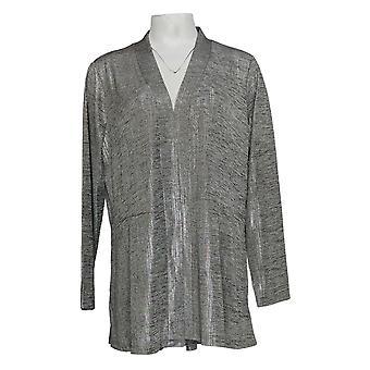 Susan Graver Femmes-apos;s Sweater Foil Print Cardigan Argent A343099