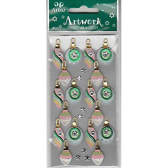 Pink Green Decorated Xmas Bauble Craft Embellishment By Artoz