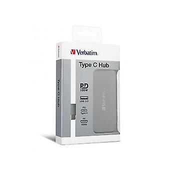 Verbatim Usb C Hub 1X Hdmi 2X Usb3 Grey