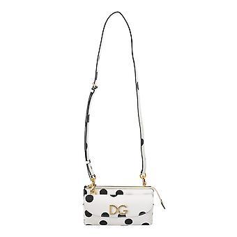 Biela polka dot ramenný popruh záves kabelka kožená taška