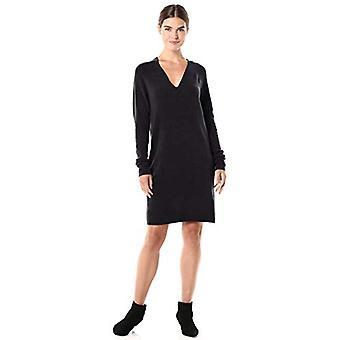 Brand - Daily Ritual Women's Mid-Gauge Stretch V-Neck Sweater Dress, Black , Large