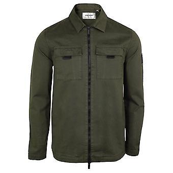 Lyle & scott men's trek green zipped overshirt