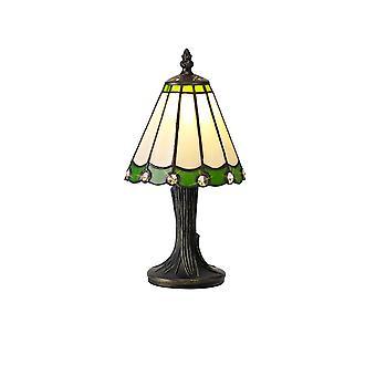 Luminosa Beleuchtung - Tiffany Tischleuchte, 1 x E14, grün, klarer Kristallschirm