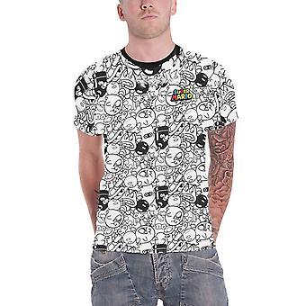 Super Mario T Shirt Villains All Over Print new Official  Mens White