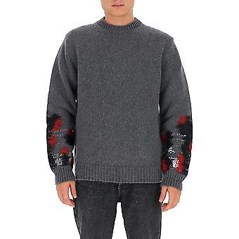 Les Hommes Ljk111656u9851 Men's Grey Wool Sweater