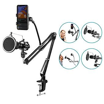 Microphone Boom Stand Holder- Suspension Ciseaux Pare-brise Clip Table