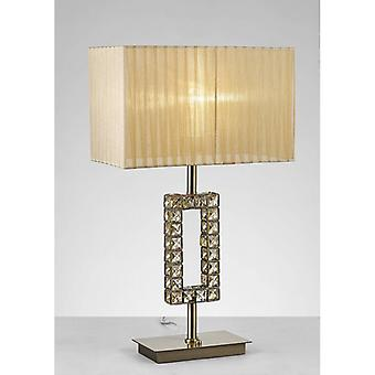 Florence Rectangle Table Lamp With Bronze Shade 1 Bulb Antique Brass / Crystal