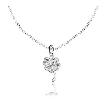 Ah! Jewellery Four Leaf Clover Pendant with Clear Crystals From Swarovski