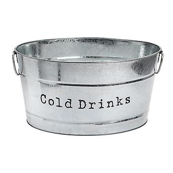Industrial Cold Drinks Bucket - Large Vintage Style Steel Party Cooler Tub - Side Handles - Silver