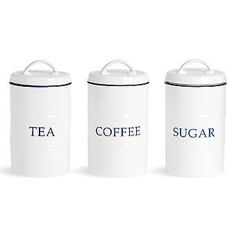 Nicola Spring 3 Piece Country Farmhouse White Tea Coffee Sugar Canister Set with Blue Rims - 11cm x 20cm