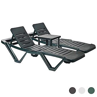 Resol 3 Piece Master Plastic Garden Sun Lounger and Side Table Set - Adjustable Reclining Outdoor Furniture - Green
