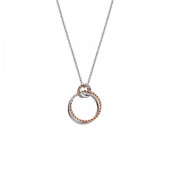 Heta diamanter Sterling Silver Unity Circle hänge rosa guld DP736