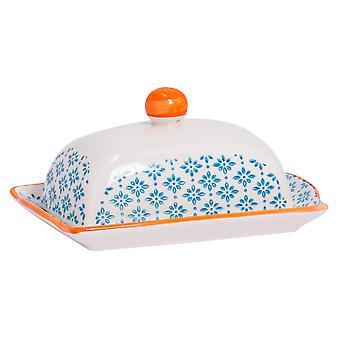 Nicola Spring Hand-Printed Butter Dish with Lid - Japanese Style Porcelain Kitchen Container - Blue - 18.5 x 12cm
