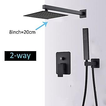 Rain Waterfall Concealed Shower System Wall Mount Bathtub Shower Mixer Shower