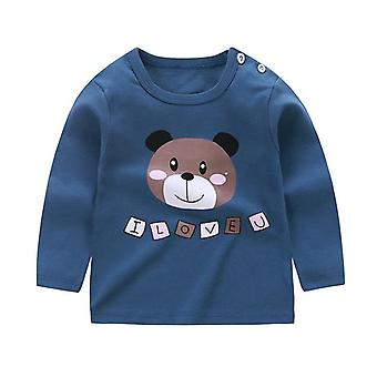 Ny Baby Boys Girls Cartoon Casual langærmet T-shirt Fashion Cotton Kids Toppe