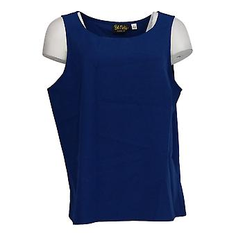 Bob Mackie Women's Top Woven Crepe Sleeveless Semi-Fitted Blue A303003